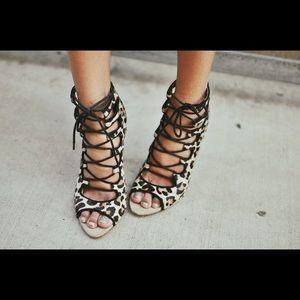 Zara lace up leopard heels